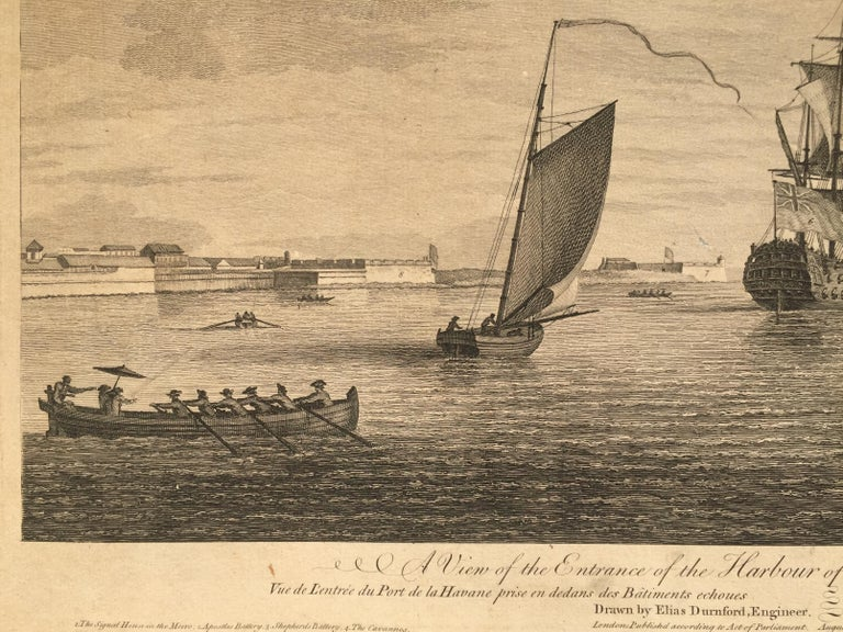 Early View of HAVANA HARBOR, Cuba - Old Masters Print by Elias Durnford