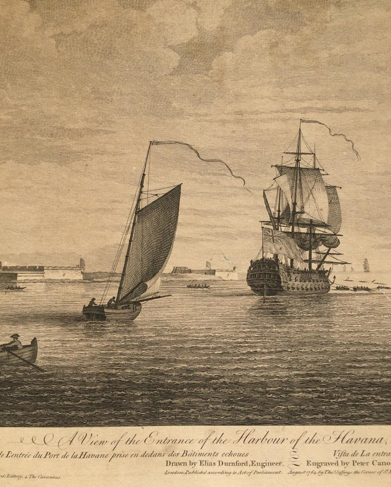 Early View of HAVANA HARBOR, Cuba - Brown Landscape Print by Elias Durnford