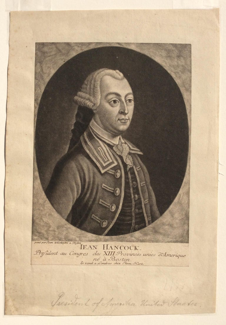 JOHN HANCOCK - Lifetime Portrait  - Signer of the Declaration of Independence  - Black Portrait Print by John Wilkinson