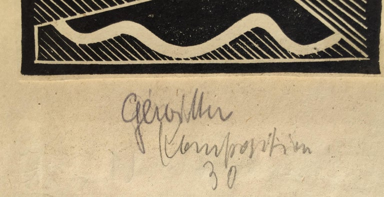 Erich Mueller-Kraus (German 1911-1967)  THUNDER (Gewitter) 1930. Signed, titled and dated 1930 on the support sheet. Image 4 1/8 x 5 1/4 inches Trimmed just outside the image presumably by the artist and attached to the support sheet.  The support