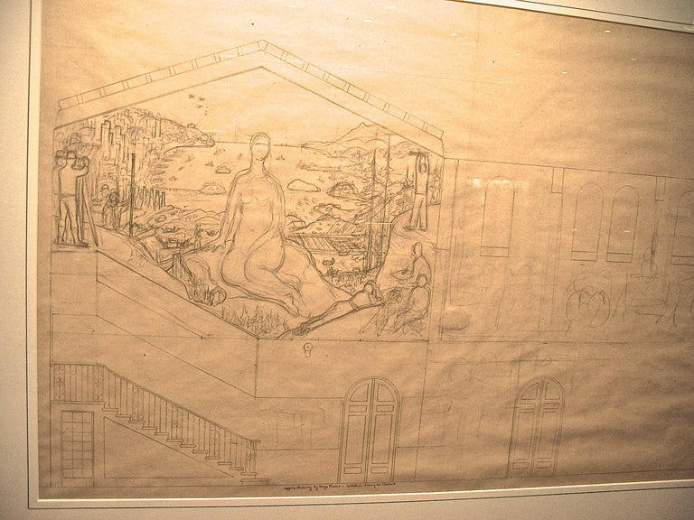 DIEGO RIVERA (1886 – 1957)   (Inv. list NY 10) MURAL STUDY FOR THE CALIFORNIA SCHOOL of  FINE ARTS  (SF ART INSTITUTE)  ca.1930-31  Important early study of one of Rivera's first works in the United States.  Depicts San Francisco  and the Bay with