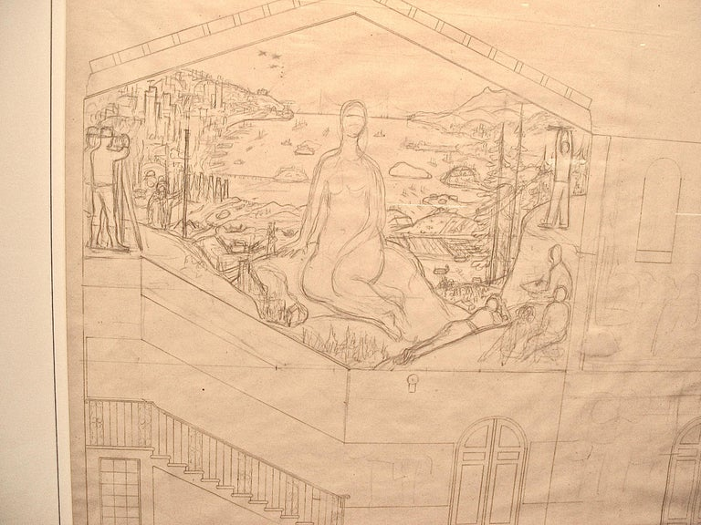 San Francisco Art Institute Mural Preliminary Drawing  - Beige Interior Art by Diego Rivera