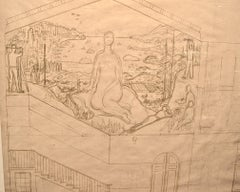 Large Early Mural study - San Francisco Art Institute