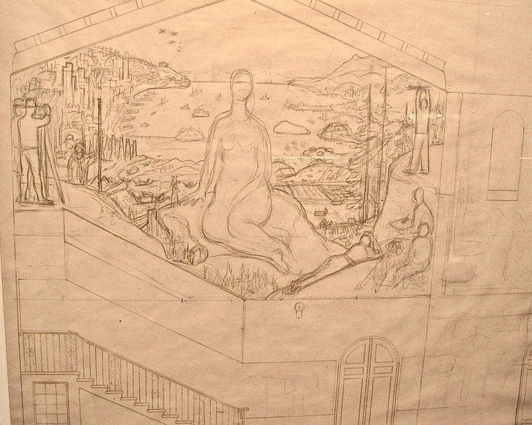 Diego Rivera Interior Art - San Francisco Art Institute Mural Preliminary Drawing