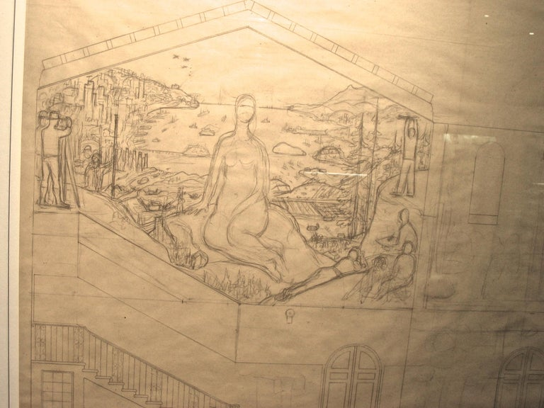San Francisco Art Institute Mural Preliminary Drawing  For Sale 1