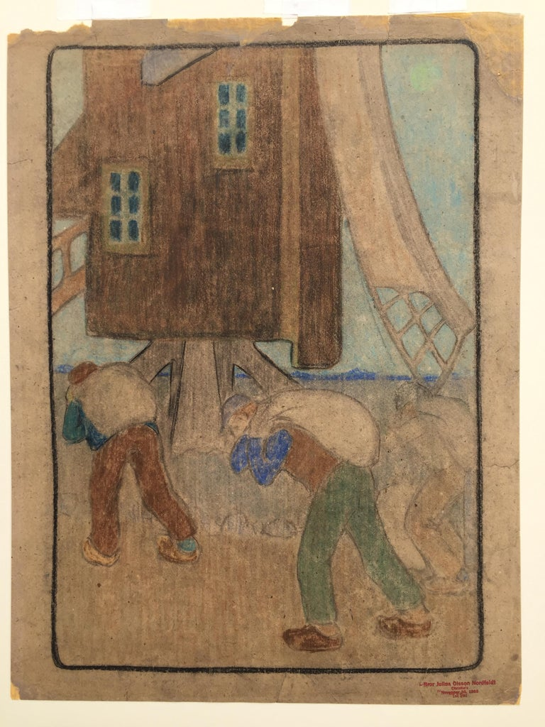 WINDMILL AND WORKERS (Large Pastel) - Art by Bror Julius Olsson Nordfeldt
