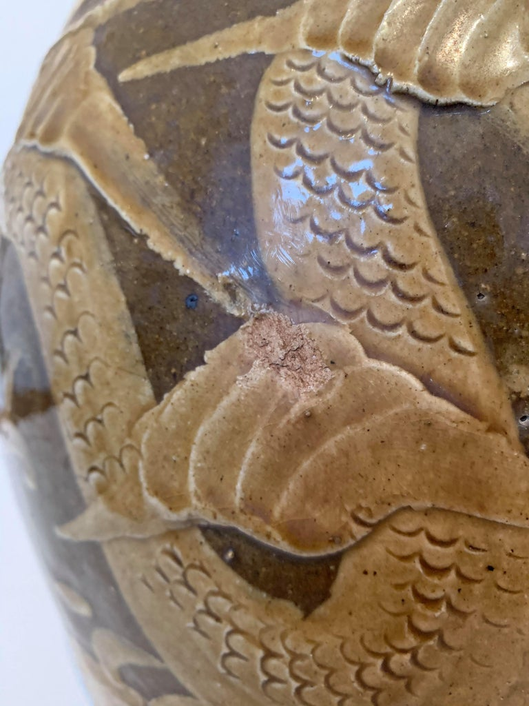 19th Century Chinese Dragon Glazed Ceramic Planter  For Sale 3