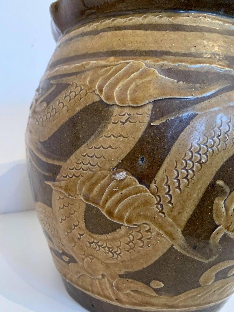 19th Century Chinese Dragon Glazed Ceramic Planter  For Sale 2