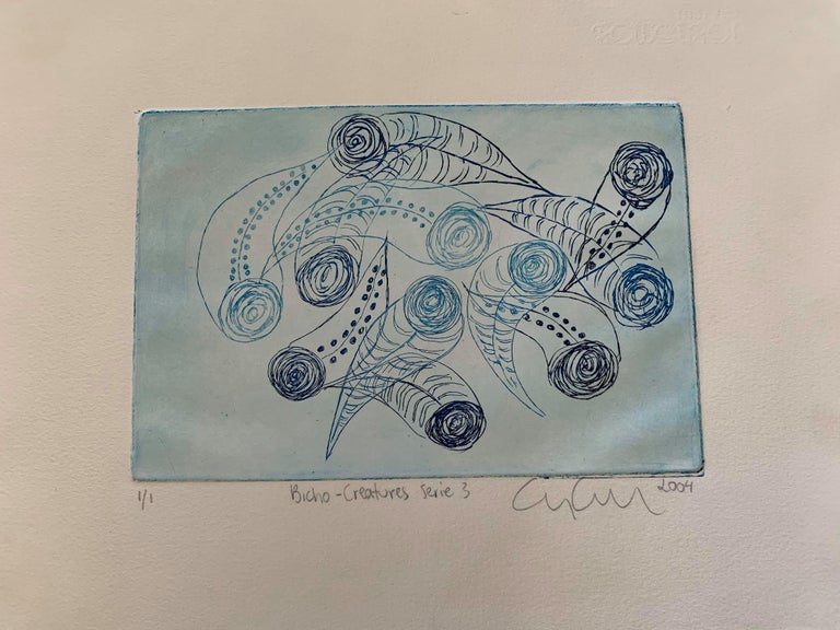 Copper Plate Print-- BichoCreatures Series 3 (Blue) - Mixed Media Art by Cynthia Cippriotti