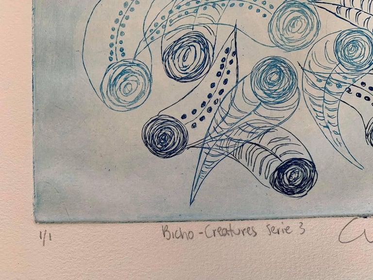 Copper Plate Print-- BichoCreatures Series 3 (Blue) For Sale 3