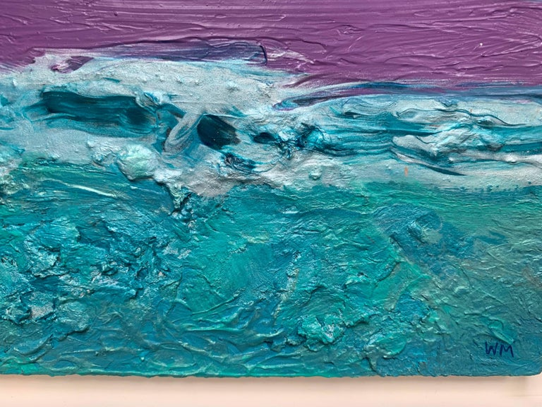 This acrylic on paper painting presents a lovely seascape. The tranquil violet of the sky complements the deep turquoises of the ocean's water. An impasto technique is used to give the water a sense of movement, with waves crashing on each other.