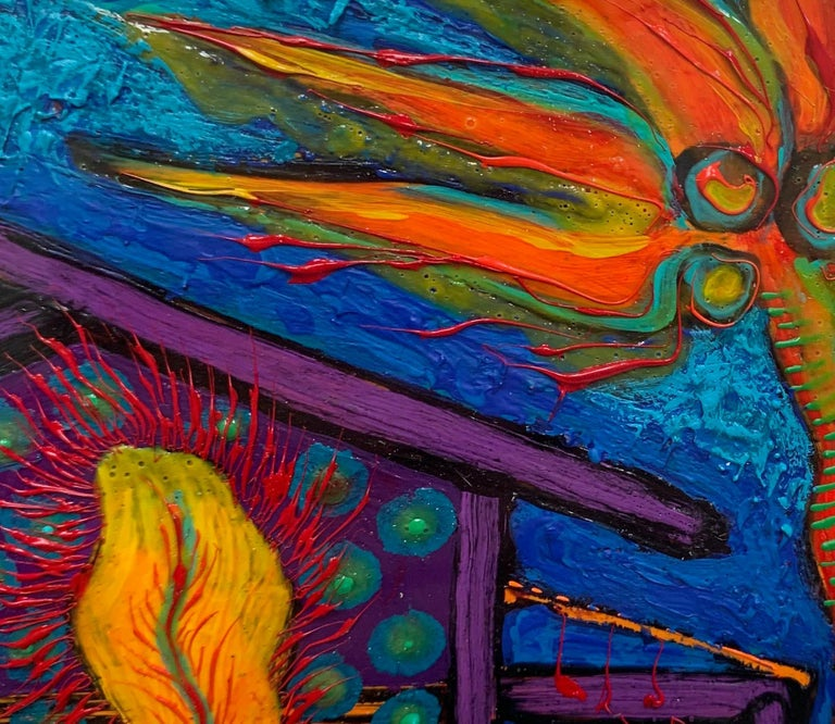 Acrylic on Paper Painting -- House with Feather For Sale 1