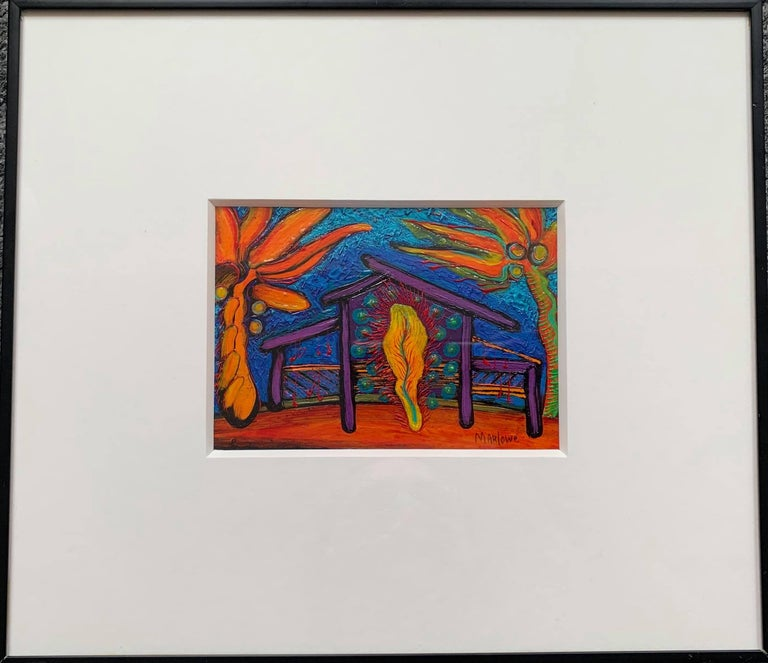Willie Marlowe Abstract Painting - Acrylic on Paper Painting -- House with Feather