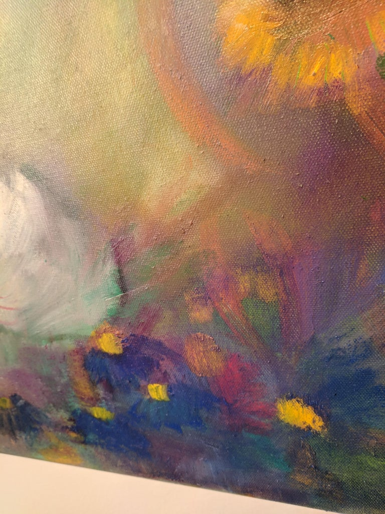 Oil on Canvas Still-life -- Summer Blooms For Sale 9