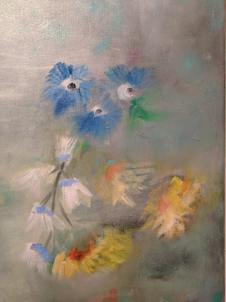 Oil on Canvas Still-life -- Summer Blooms For Sale 3
