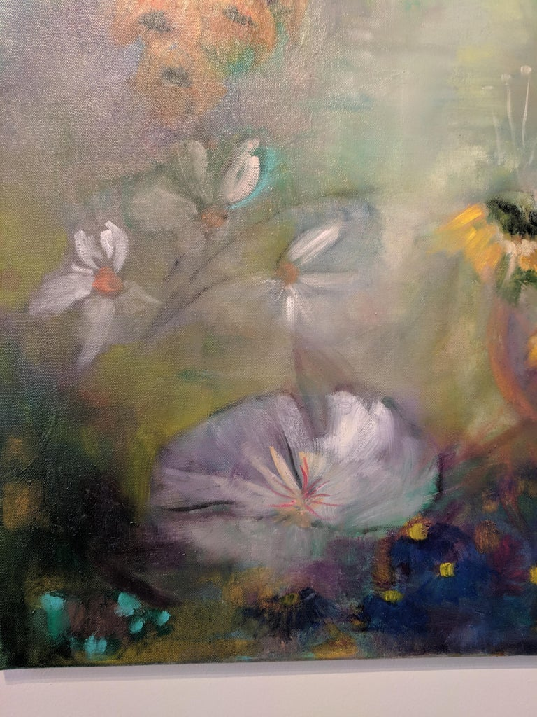 Oil on Canvas Still-life -- Summer Blooms For Sale 6
