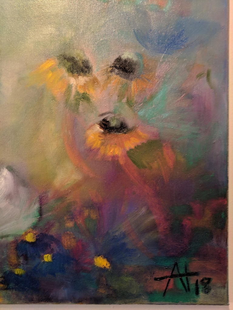 Oil on Canvas Still-life -- Summer Blooms For Sale 8