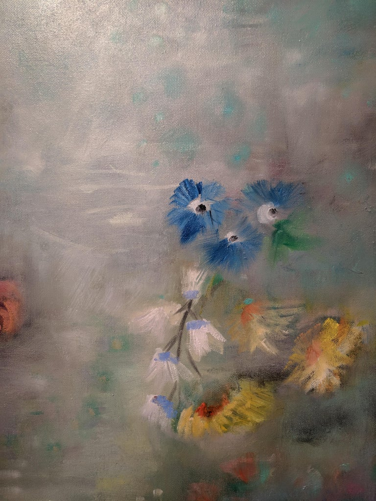 Oil on Canvas Still-life -- Summer Blooms For Sale 2