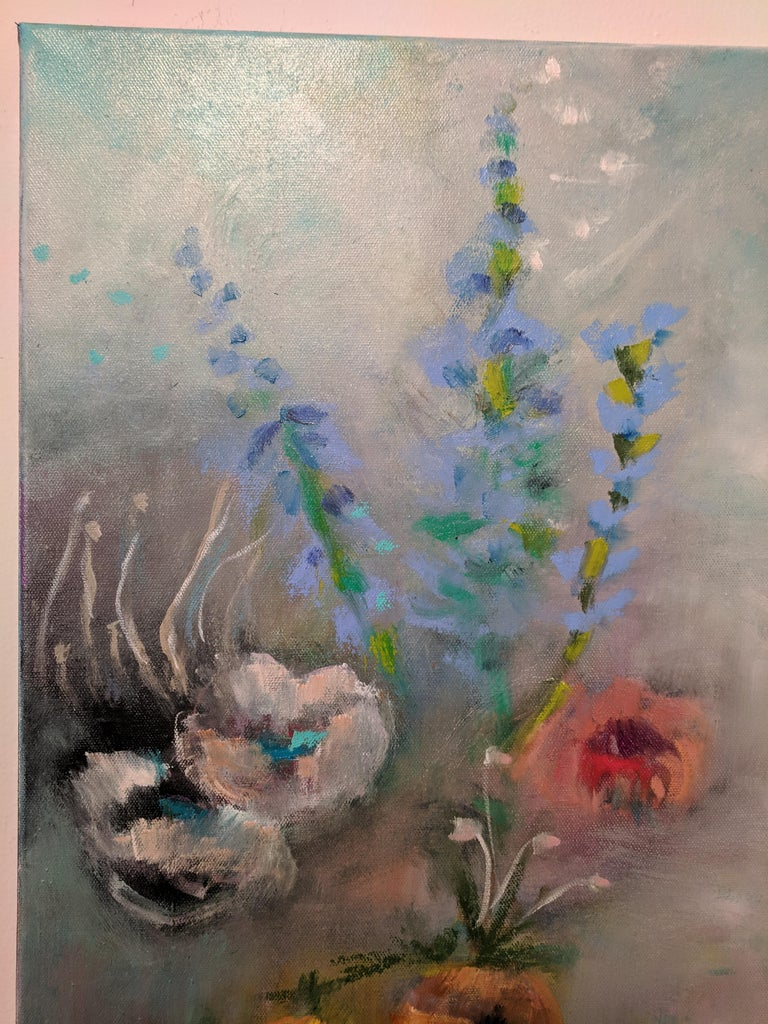Oil on Canvas Still-life -- Summer Blooms - Contemporary Painting by Alexandra Higgins