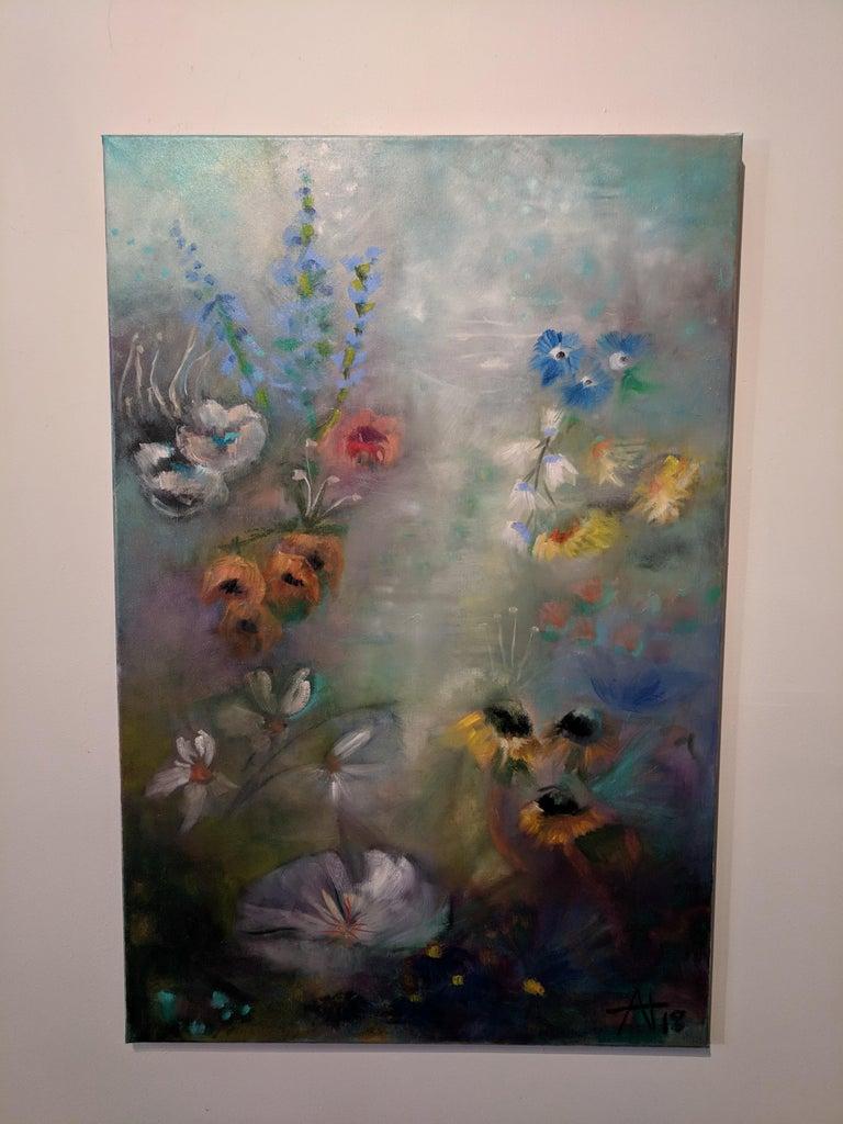 Alexandra Higgins Landscape Painting - Oil on Canvas Still-life -- Summer Blooms