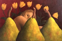 Oil Painting on Canvas  -- Lisa's Yellow Tulips
