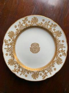 Minton Fine Porcelain Plate-- White with Gold Design