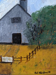 Oil on Board Framed Painting --- Irish Barnyard
