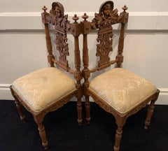 19th Century Pair of Hand-Carved Hall Chairs from Mexico