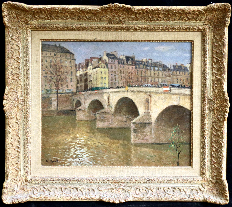 Pont Marie-Paris - Mid 20th Century Bridge over River Landscape by Francois Gall