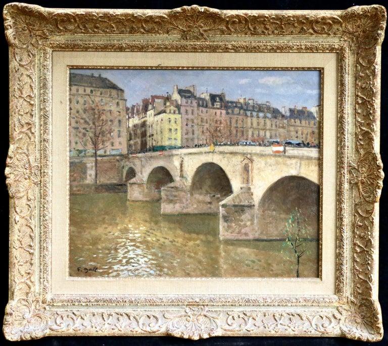 Francois Gall (1912-1987) Landscape Painting - Pont Marie-Paris - Mid 20th Century Bridge over River Landscape by Francois Gall