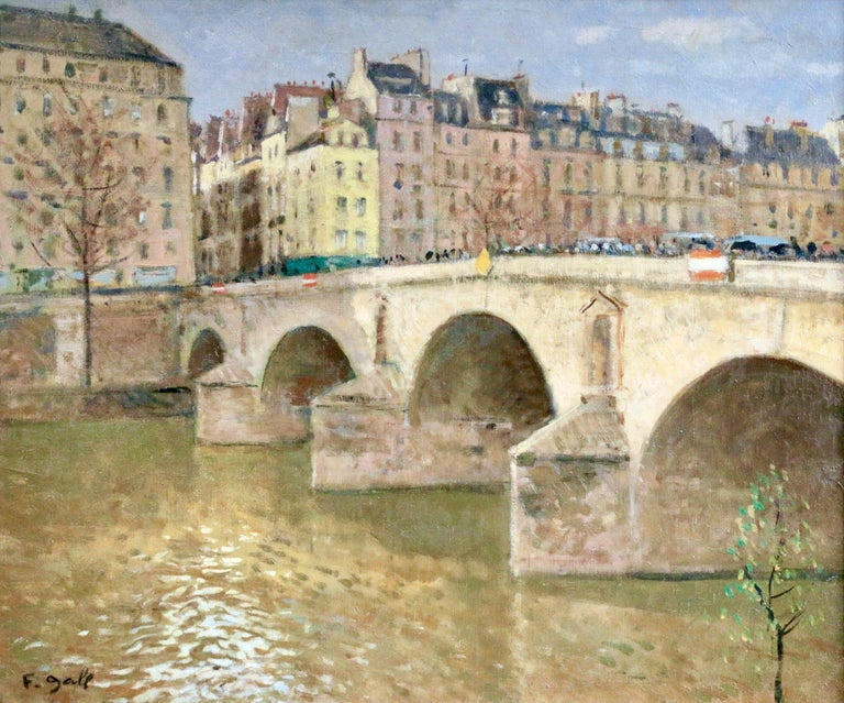 Pont Marie-Paris - Mid 20th Century Bridge over River Landscape by Francois Gall - Post-Impressionist Painting by Francois Gall (1912-1987)