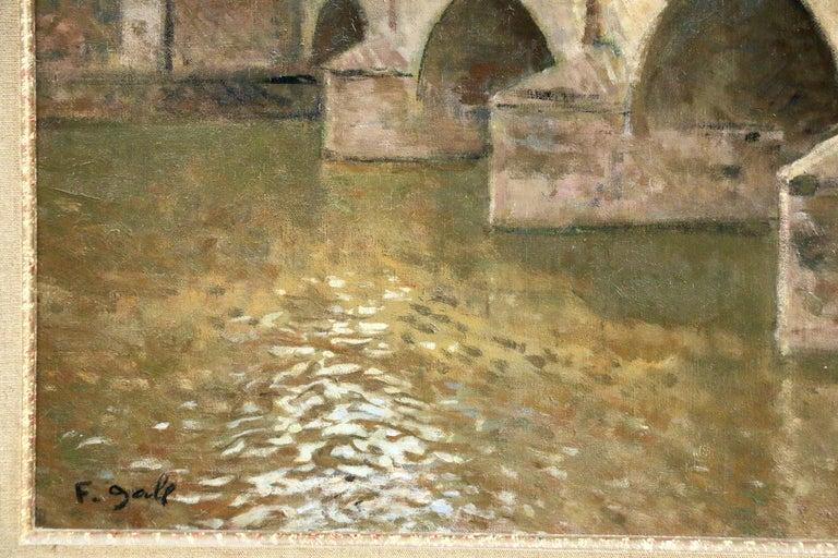 Pont Marie-Paris - Mid 20th Century Bridge over River Landscape by Francois Gall - Beige Landscape Painting by Francois Gall (1912-1987)
