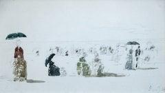 Crinolones sur la Plage-Boulogne - 19th Century, Figures on Beach by E Boudin