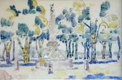 Figures in a Park - 19th Century Watercolour, Figures in Landscape by H Person