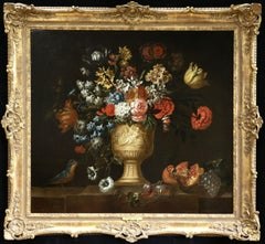 Vase of Summer Flowers-18th Century Oil, Flowers, Fruit & Bird by J B Bosschaert