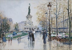Marche aux Fleurs-Place de la République- Figures in Market Watercolour by Stein
