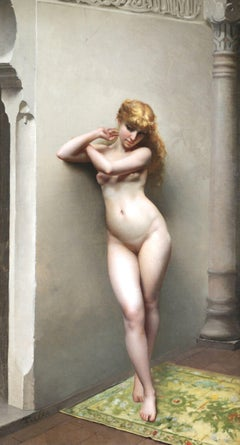 La Favorite - 19th Century Oil, Nude Female Figure in Interior by Luis Falero