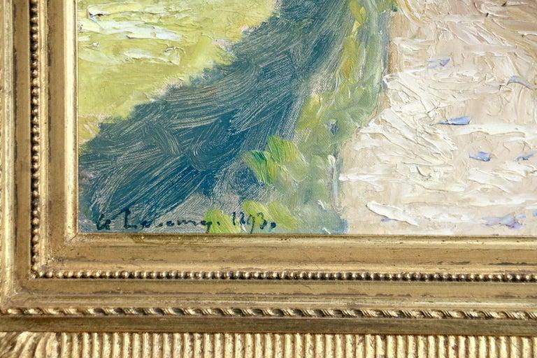 Au Bord de la Seine - Brown Figurative Painting by Albert-Charles Lebourg
