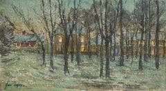Snowy Night - Douai - 19th Century Watercolor, French Village in Snow by H Duhem
