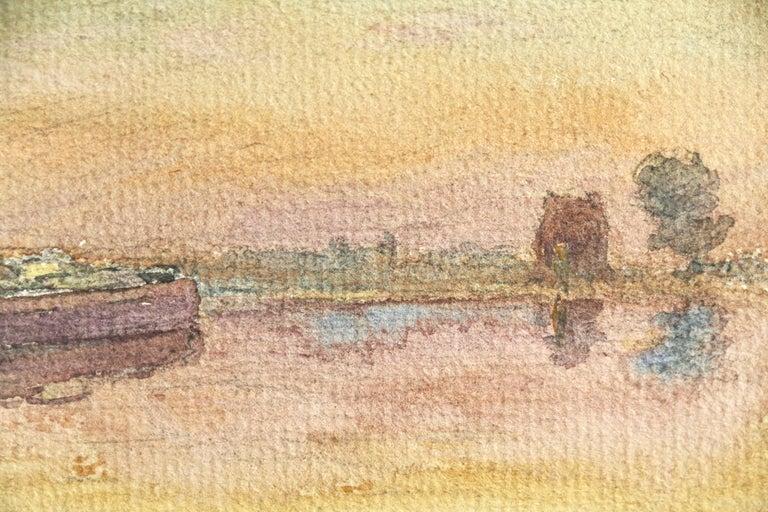 Barges at Sunset - 19th Century Watercolor, Boats on River in Landscape by Duhem - Beige Landscape Art by Henri Duhem
