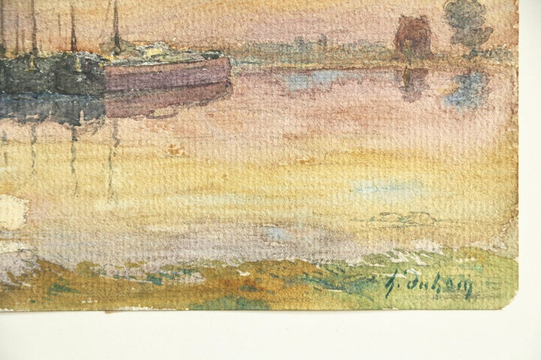 Barges at Sunset - 19th Century Watercolor, Boats on River in Landscape by Duhem For Sale 1