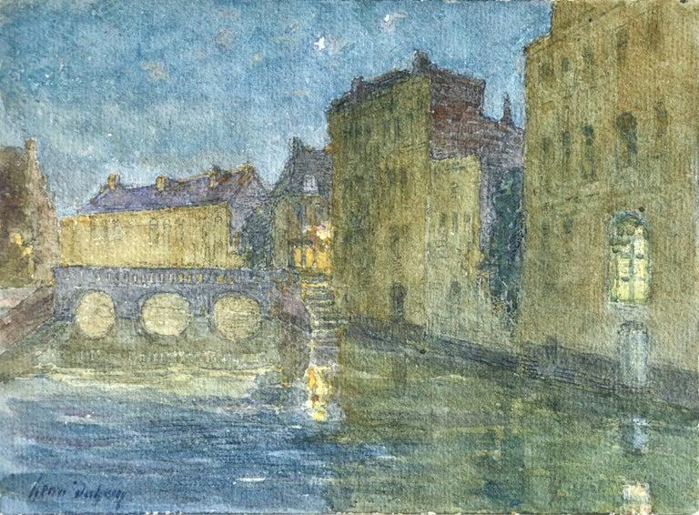 Henri Duhem Landscape Art - Canal at Night - 19th Century Watercolor, Bridge over Water Landscape by H Duhem