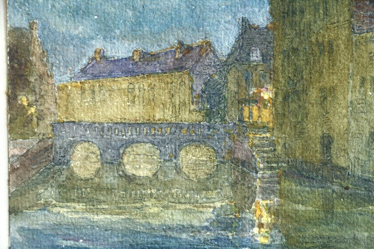 Canal at Night - 19th Century Watercolor, Bridge over Water Landscape by H Duhem - Art by Henri Duhem