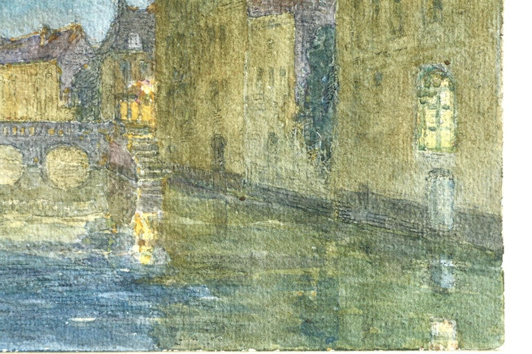 Canal at Night - 19th Century Watercolor, Bridge over Water Landscape by H Duhem - Gray Landscape Art by Henri Duhem
