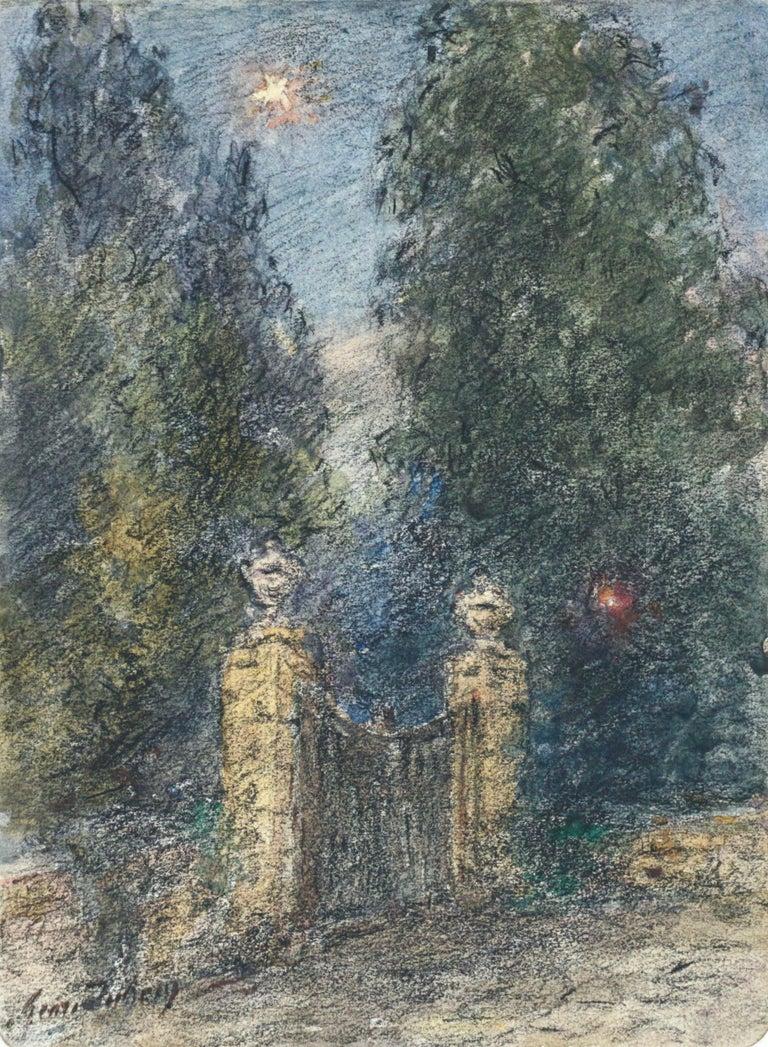 Henri Duhem Landscape Art - Étoile sur la Porte - 19th Century Watercolor, Star in Night Landscape by Duhem