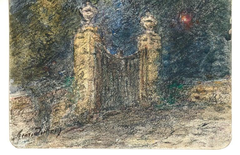 Étoile sur la Porte - 19th Century Watercolor, Star in Night Landscape by Duhem - Art by Henri Duhem