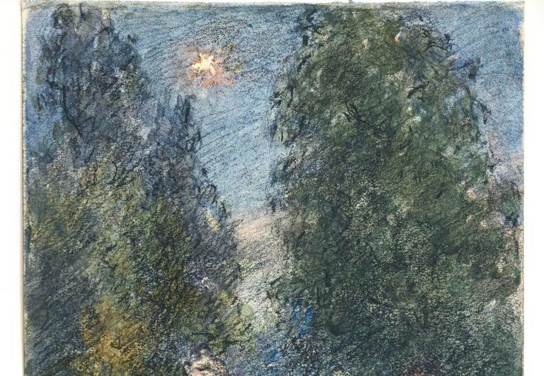 Étoile sur la Porte - 19th Century Watercolor, Star in Night Landscape by Duhem - Impressionist Art by Henri Duhem