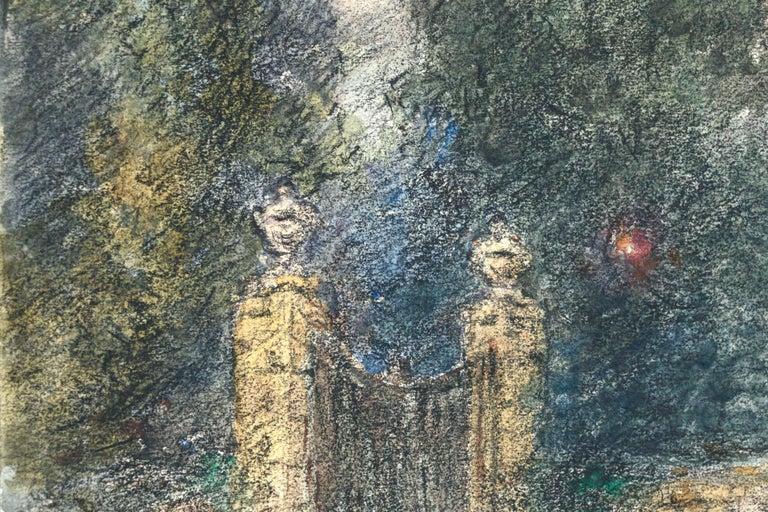 Étoile sur la Porte - 19th Century Watercolor, Star in Night Landscape by Duhem - Gray Landscape Art by Henri Duhem