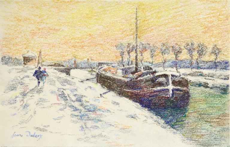 Henri Duhem Landscape Art - Canal at Douai-Winter - 19th Century Watercolor, Boat in Snow Landscape by Duhem