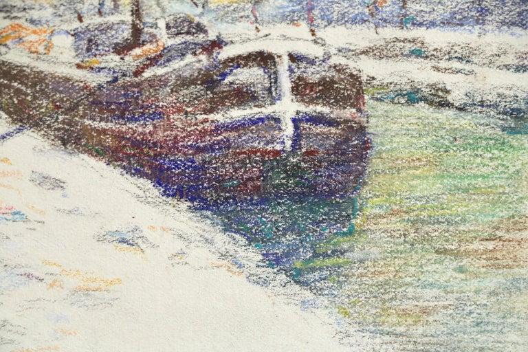 Canal at Douai-Winter - 19th Century Watercolor, Boat in Snow Landscape by Duhem - Beige Landscape Art by Henri Duhem